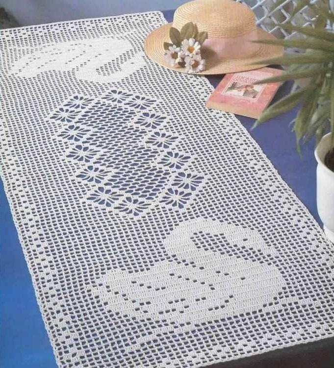 Crochet Napperon Rectangulaire Centre De Table Cygnes